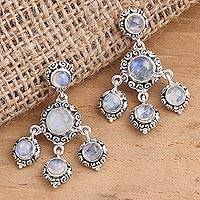 Rainbow moonstone chandelier earrings, 'Raindrop Chandelier' - Rainbow Moonstone Cabochon Chandelier Earrings