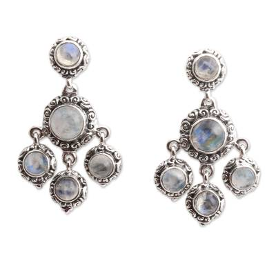 Rainbow moonstone chandelier earrings, 'Raindrop Chandelier' - Rainbow Moonstone Cabochon Chandelier Earrings