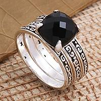Onyx cocktail ring, 'Buddha's Curls in Black' - Checkerboard Faceted Onyx Sterling Silver Cocktail Ring