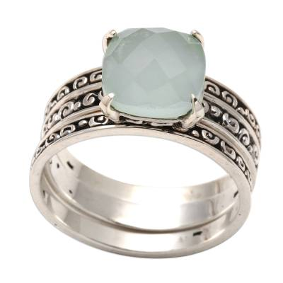 Chalcedony cocktail ring, 'Buddha's Curls in Aqua' - Checkerboard Facet Chalcedony Sterling Silver Cocktail Ring