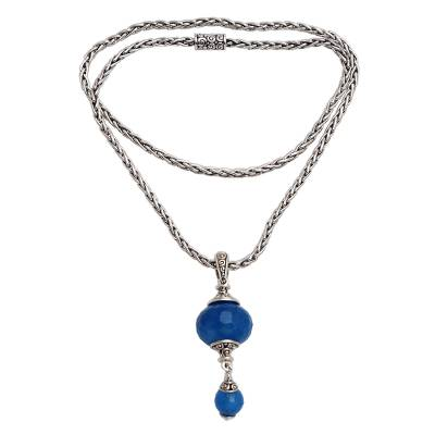 Faceted Chalcedony Bead Sterling Silver Pendant Necklace