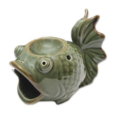 Green Ceramic Koi Fish Oil Warmer