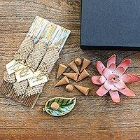 Aromatherapy gift set, 'Blooming Lotus in Pink' - Ceramic Lotus Flower Aromatherapy Incense Boxed Set