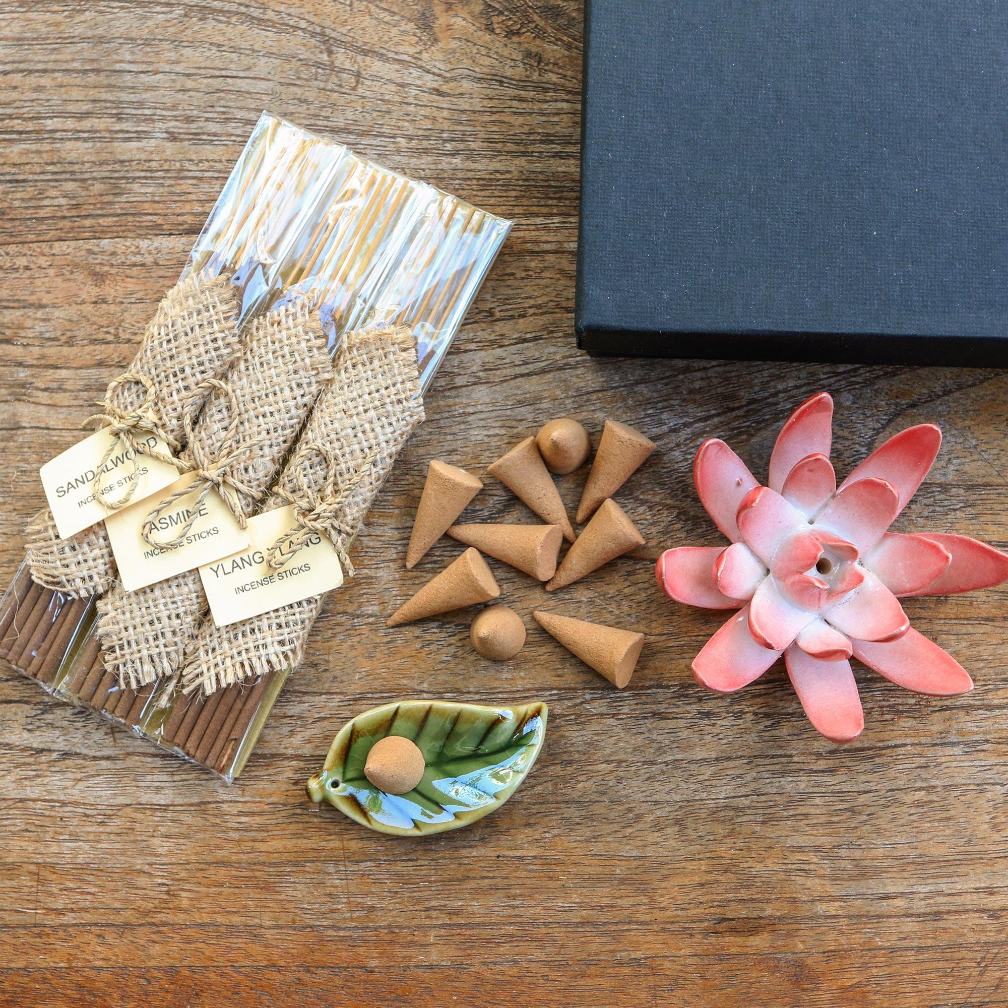 Handmade Ceramic Lotus Flower Pendant and Bead Set