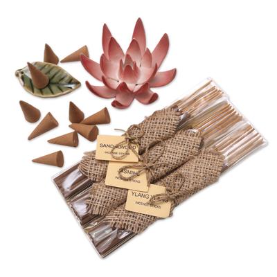 Ceramic Lotus Flower Aromatherapy Incense Boxed Set