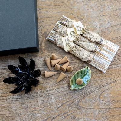 Aromatherapy gift set, 'Blooming Lotus in Black' - Boxed Aromatherapy Incense and Holder Set