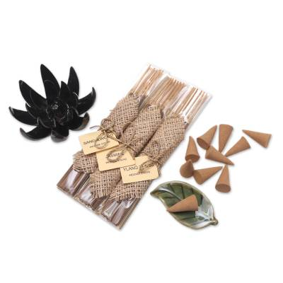 Boxed Aromatherapy Incense and Holder Set