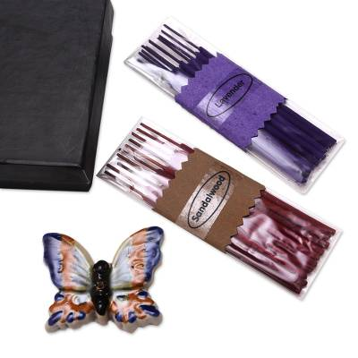 Ceramic Butterfly Incense Holder with 20 Sticks Incense