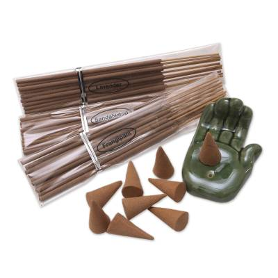 Boxed Incense Gift Set with Ceramic Holder