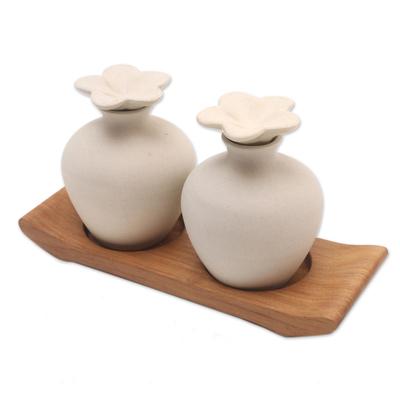 Hand Made Ceramic and Teak Wood Bathroom Set