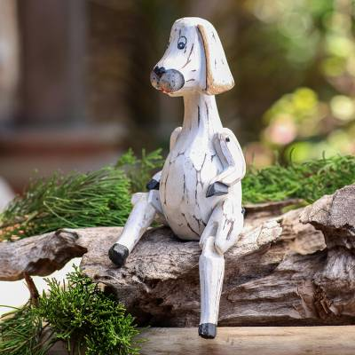 Wood sculpture, 'Seated Dog' - Hand Carved Jointed Wood Dog Sculpture