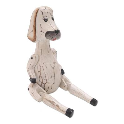 Hand Carved Jointed Wood Dog Sculpture