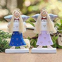 Wood holiday decor accents, 'Message of Love' (pair) - Angel Wood Holiday Decor Accents (Pair)
