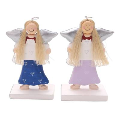 Angel Wood Holiday Decor Accents (Pair)