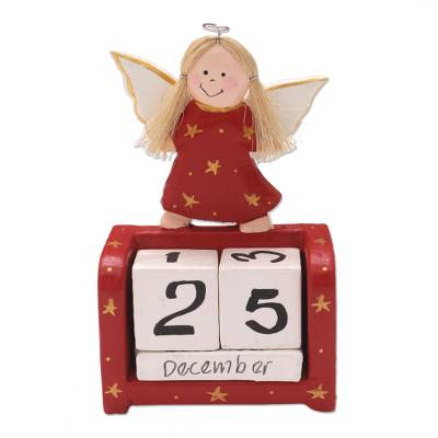 Angel Motif Wood Perpetual Calendar
