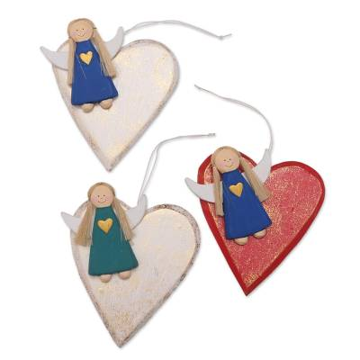 Angel and Heart Ornaments Handmade in Bali (Set of 3)