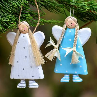 Wood ornaments, Angel Sisters (pair)