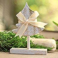 Wood holiday decor accent, 'All Wrapped Up' - Wooden Christmas Tree Holiday Decor Accent