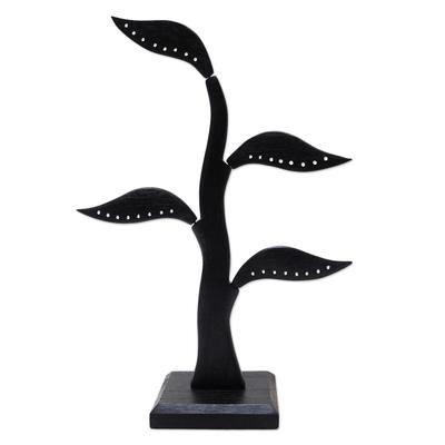 Wood jewelry holder, 'Daun Salam in Black' (15 inch) - Hand Made Wood Leaf-Themed Jewelry Holder (15 Inch)
