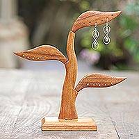 Wood jewelry holder, 'Daun Salam in Brown' (10 inch) - Jempinis Wood Leaf-Themed Jewelry Holder from Bali (10 Inch)