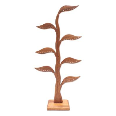 Wood jewelry holder, 'Daun Salam in Brown' (21 inch) - Handmade Jempinis Wood Leaf-Themed Jewelry Holder (21 Inch)