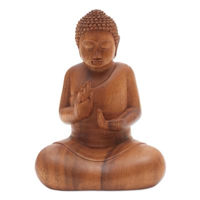 Deliberating Buddha Suar Wood Statuette