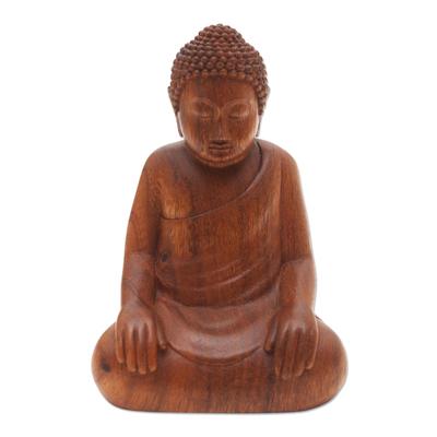 Enlightened Chinese Buddha Suar Wood Statuette