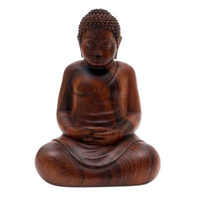 Concentration Buddha Suar Wood Statuette
