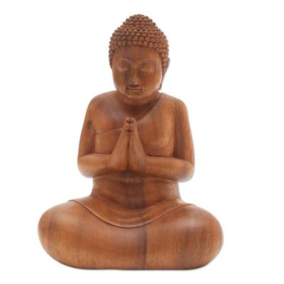 Adoration Buddha Suar Wood Statuette
