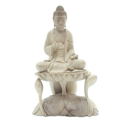 Hand Carved Hibiscus Wood Lotus Flower Buddha Sculpture