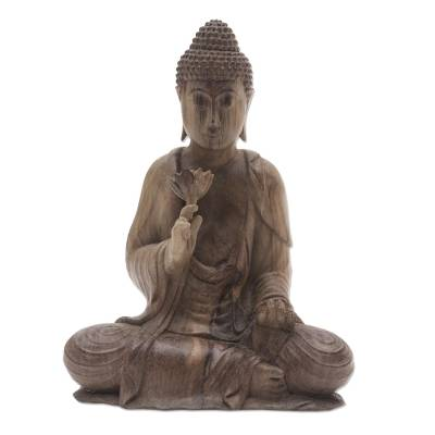 Buddha with Lotus Hibiscus Wood Statuette