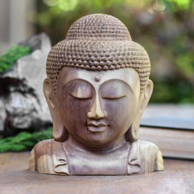 Wood sculpture, 'Buddha Bust' - Hand Carved Hibiscus Wood Buddha Sculpture