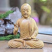 Wood statuette, 'Karana Mudra Buddha' - Balinese Crocodile Wood Buddha Statuette