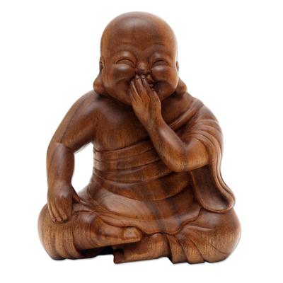 Laughing Chinese Buddha Suar Wood Statuette