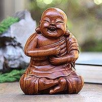 Wood statuette, 'Happy Chinese Buddha' - Happy Chinese Buddha Suar Wood Statuette