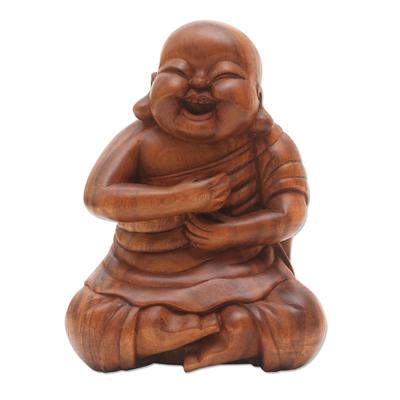 Happy Chinese Buddha Suar Wood Statuette
