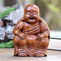 Wood statuette, 'Relaxing Chinese Buddha' - Relaxing Chinese Buddha Suar Wood Statuette