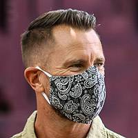 Cotton face masks, 'Perfect in Paisley' (set of 3)
