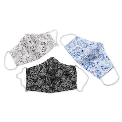Cotton face masks, 'Perfect in Paisley' (set of 3) - Hand Made Paisley Cotton Face Masks from Java (Set of 3)