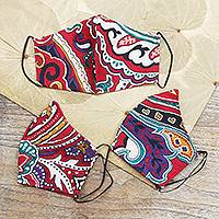 Cotton face masks, 'Red Rainbow' (set of 3)
