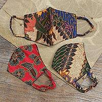 Cotton face masks, 'Vintage Batik' (set of 3) - Two Layer Cotton Face Masks Set of 3