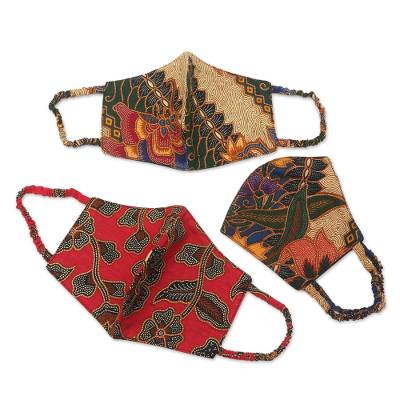 Cotton face masks, 'Vintage Batik' (set of 3) - Two Layer Cotton Face Masks Set of 3