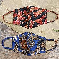 Cotton face masks, 'Beaded Batik' (pair) - Pair of Cotton Batik Beaded Face Masks