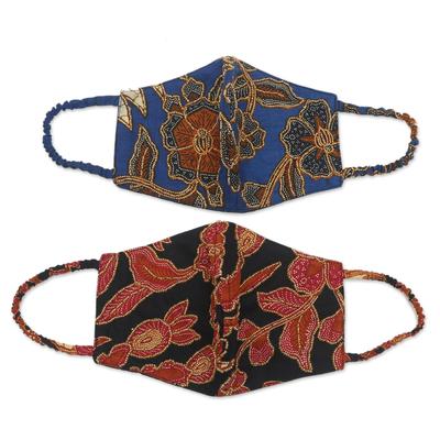 Cotton face masks, 'Beaded Batik' (pair) - Pair of Cotton Batik Beaded Face Masks