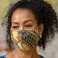 Beaded cotton batik face masks, 'Batik Dazzle' (pair) - Hand Beaded Cotton Batik Face Masks (Pair)