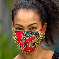 Beaded cotton batik face masks, 'Batik Sparkle' (set of 3)