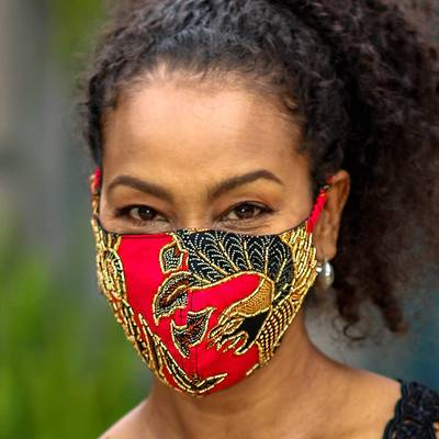 Beaded cotton batik face masks, 'Batik Sparkle' (set of 3) - Artisan Crafted Beaded Batik Face Masks (Set of 3)