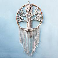 Cotton macrame wall hanging, 'Owl Tree' - Cotton Macrame Owl in Tree Wall Hanging
