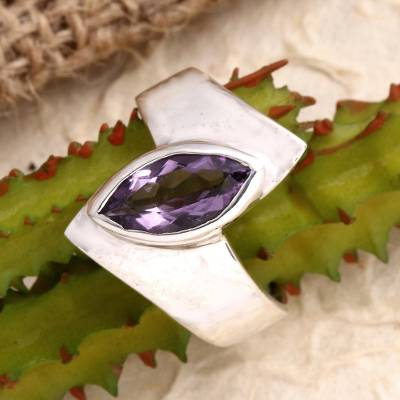 Amethyst single stone ring, 'Modern Purple' - Hand Made Amethyst and Sterling Silver Single Stone Ring