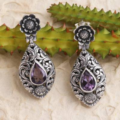 Amethyst dangle earrings, 'Purple Sunflower' - Hand Crafted Amethyst and Sterling Silver Dangle Earrings